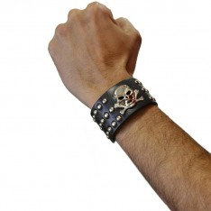 Bracelet de rockeur 2 rangs avec crane