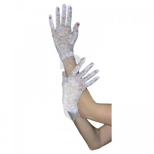 Paire de gants en dentelle blanche