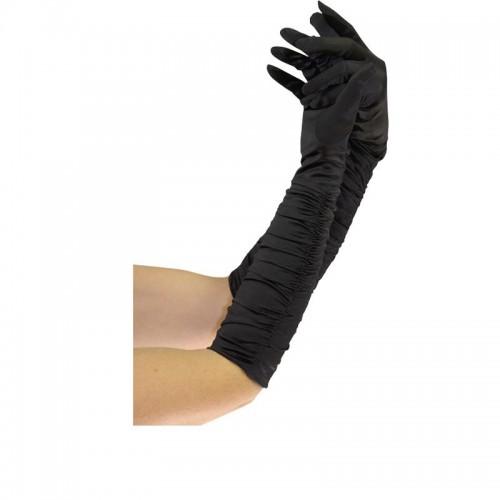 Gants plissés noir