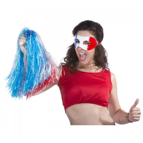 Pompom raphia nylon bleu blanc rouge