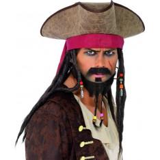 Chapeau de pirate avec perruque integré