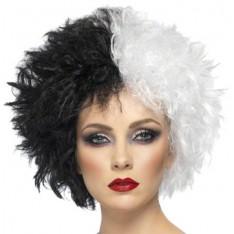 Perruque Cruela noire et blanche