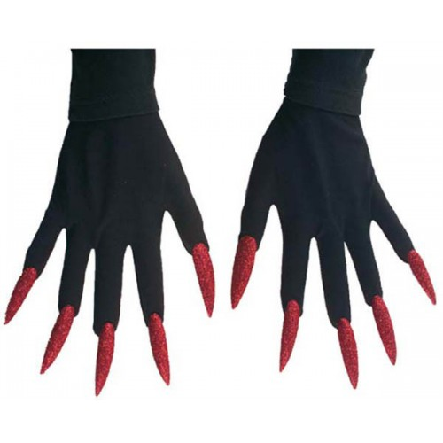 Gants de monstre ongles rouges à paillette