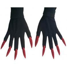 Gants de monstre ongles rouges à paillette