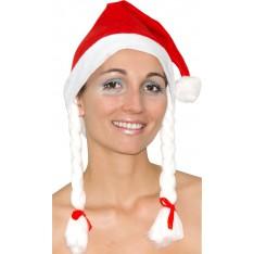Bonnet Noël avec tresses