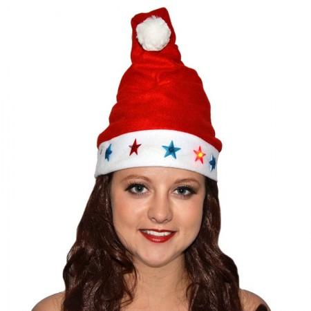 Bonnet de Noël lumineux bleu et rouge