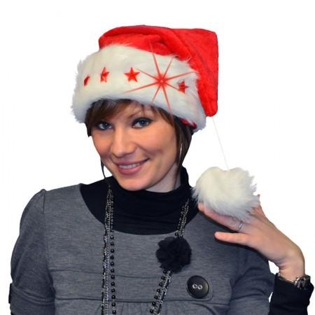 Bonnet de Noël rembourré et lumineux