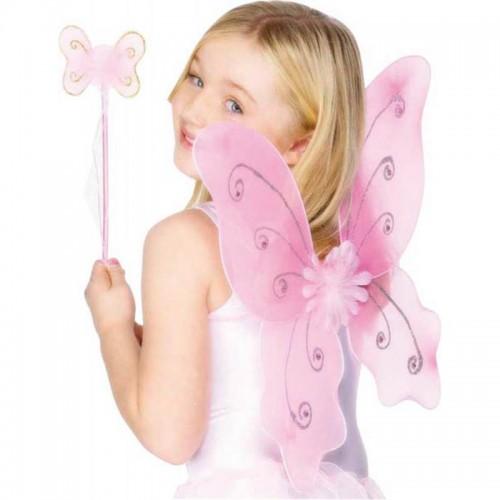 Baguette et ailes de papillon rose
