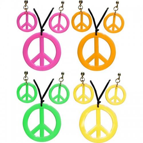 Set hippie collier et boucles d'oreilles fluo
