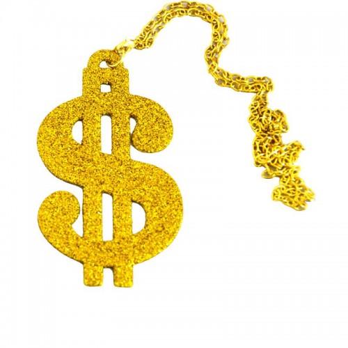 Collier métal dollar doré