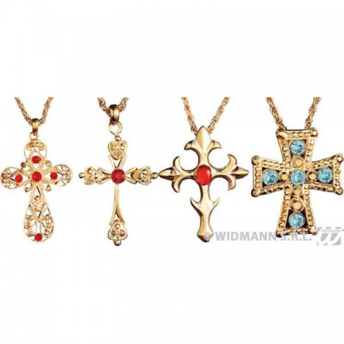 Collier croix décorée