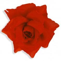 Fleur rouge montée sur barrette